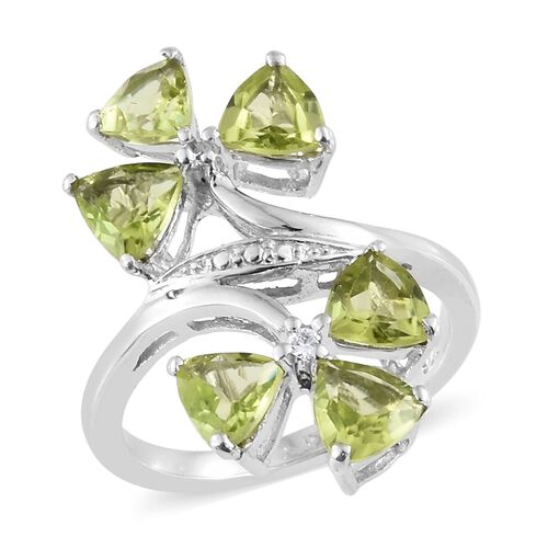 Hebei Peridot ( Tri 2.70 Ct), Natural Cambodian Zircon Twin Flower Ring in Platinum Overlay Sterling Silver 2.750  Ct.