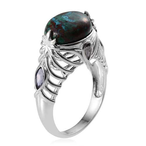 Table Mountain Shadowkite (Ovl 9.00 Ct), Iolite Ring in Platinum Overlay Sterling Silver 9.650 Ct.