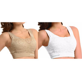 2 Piece Set SANKOM SWITZERLAND Patent Classic with Lace Bra Including Beige and White