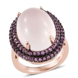 13.5 Ct Rose Quartz and Pink Sapphire Halo Ring in Rose Gold Plated Silver