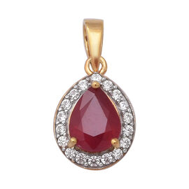 African Ruby (Pear), Natural White Cambodian Zircon Pendant in Yellow Gold Overlay Sterling Silver 2