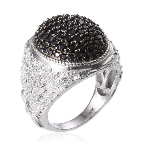 Boi Ploi Black Spinel (Rnd) Cluster Ring in Platinum Overlay Sterling Silver 2.500 Ct. Silver wt 13.00 Gms.