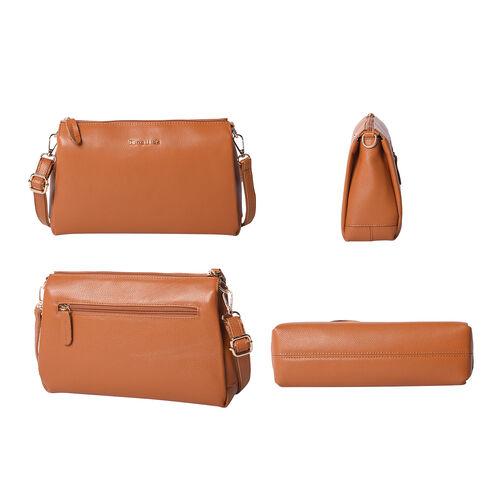 SENCILLEZ 100% Genuine Leather Crossbody Bag with Adjustable Shoulder Strap and Zipper Closure (Size 28x9x17cm) - Tan