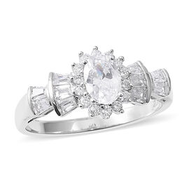 ELANZA Simulated Diamond (Ovl, Bgt and Rnd) Ring in Rhodium Overlay Sterling Silver