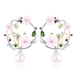 Jardin Collection - Pink Mother of Pearl, Freshwater Pearl and Multi Gemstone Earrings (with Push Ba