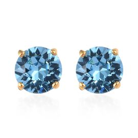 J Francis - Crystal from Swarovski Aquamarine Colour Crystal (Rnd) Stud Earrings (with Push Back) in