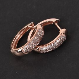 9K Rose Gold Natural Pink Diamond Huggie Hoop Earrings (with Clasp) 0.50 Ct.