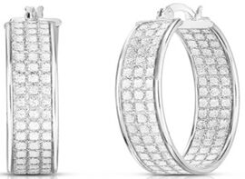 New York Close Out Diamond Cut Hoop Earrings in Rhodium Overlay Sterling Silver