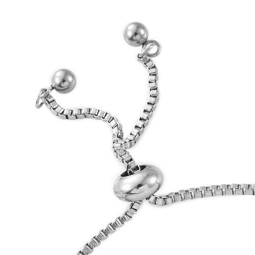 White Topaz (Ovl) Bolo Bracelet (Size 6.5 - 9.5 Adjustable) in Platinum Plated