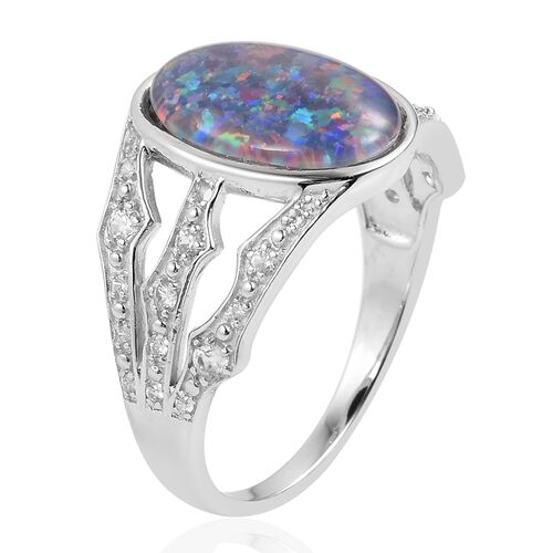 Designer Inspired Rare Size Australian Boulder Opal (Ovl 14x10mm), Natural White Cambodian Zircon Ring in Rhodium Plated Sterling Silver