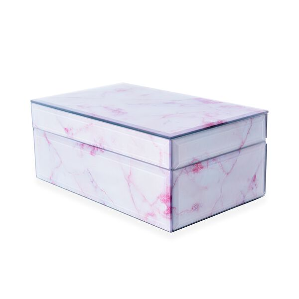Marble Glass Jewellery Storage Box with Inside Mirror, 7 Ring Rows, 4 Necklace Hook with Pouch and 4 Sections (Size 21x13x8.5 Cm) - Rose Quartz