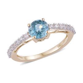 9K Yellow Gold Blue Zircon (Rnd), Natural Cambodian Zircon Ring  1.750 Ct.
