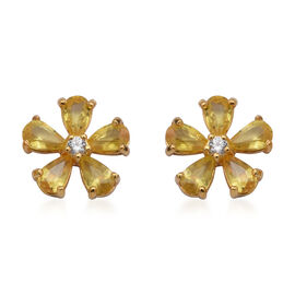Yellow Sapphire and Natural Cambodian Zircon Floral Stud Earrings (with Push Back) in Yellow Gold Ov