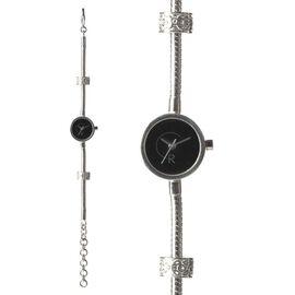 RACHEL GALLEY Black Mother of Pearl Japanese Miyota 5030 Movement 5 Micron Gold Plating Snake Bracelet Timepiece in Swarovski Crystal