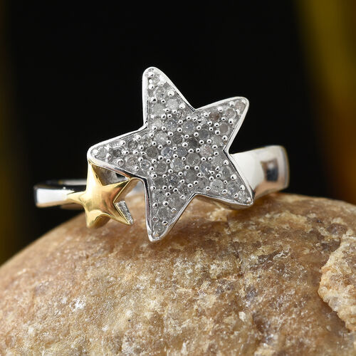 GP Diamond (Rnd), Kanchanaburi Blue Sapphire Star Ring in Platinum Overlay Sterling Silver  0.270 Ct.