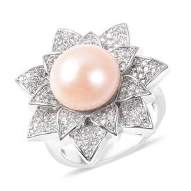 One Time Deal- Freshwater Peach Pearl (Rnd), Simulated Diamond Floral Ring in Silver Tone