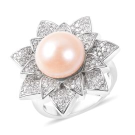Freshwater Peach Pearl and Simulated Diamond Floral Ring in Silver Tone