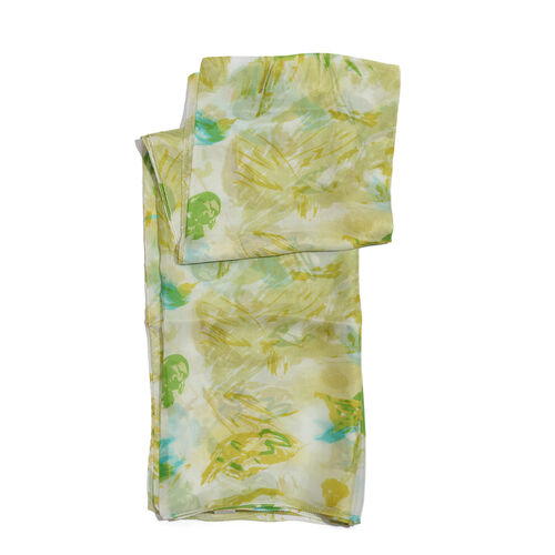 100% Mulberry Silk Mint Green and Multi Colour Printed Pareo (Size 180x100 Cm)