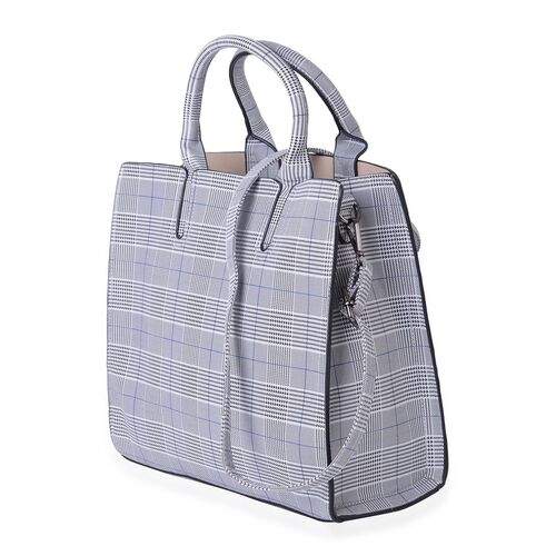 Madison Blue Colour Glen Check Tote Bag with Shoulder Strap (Size 32x28x12 Cm)