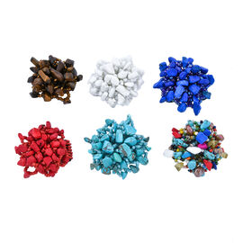 Set of 6 Turquoise and Multi Colour Beads Stretchable Ring