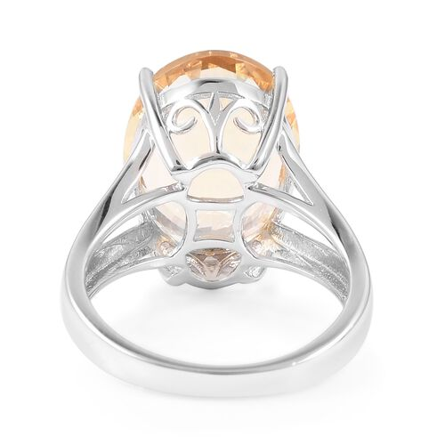 Brazilian Citrine (Ovl 16x12 mm) Ring in Rhodium Overlay Sterling Silver 9.250  Ct.