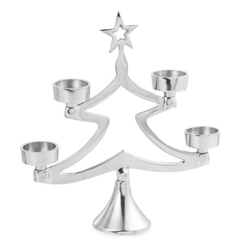 Home Decor - Christmas Tree Candle Holder Centrepiece - Silver Tone