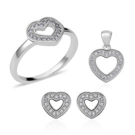 3 Piece Set - ELANZA Simulated Diamond (Rnd) Heart Ring, Earrings (with Push Back) and Pendant in Rhodium Overlay Sterling Silver, Silver wt 6.69 Gms.