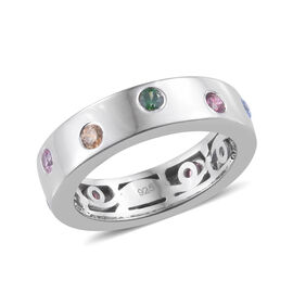 J Francis - Platinum Overlay Sterling Silver (Rnd) Band Ring Made With Multi Colour SWAROVSKI ZIRCONIA