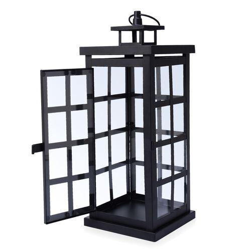 (Option 1) Square Grid Design Black Colour Cage Lantern (Size 34x12 Cm)