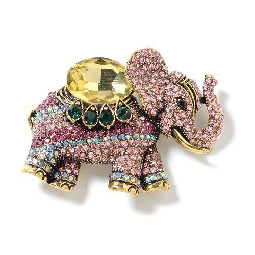Simulated Citrine (Ovl), Multi Colour Austrian Crystal Elephant Brooch in Gold Tone