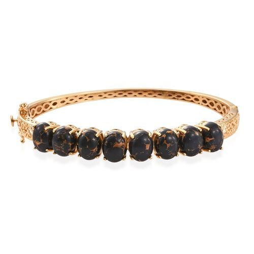 Arizona Mojave Black Turquoise (Ovl) Bangle (Size 7.5) in 14K Gold Overlay Sterling Silver 18.000 Ct