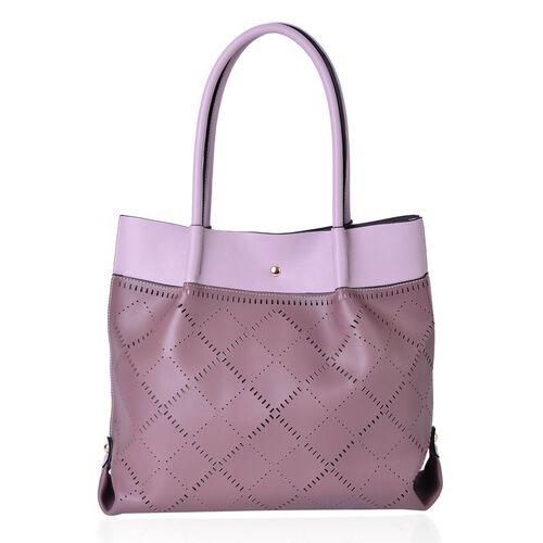 Mauve and Light Pink Colour Laser Cut Pattern Tote Bag (Size 40x30x13.5 Cm)