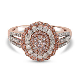 9K Rose Gold Natural Pink and White Diamond Cluster Ring 1.00 Ct.