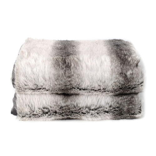 Superior Quality Faux Fur Chinchilla Blanket with Reverse Faux Mink (Size 200x150 Cm)