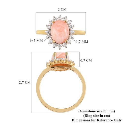 Oregon Sunrise Peach Opal and Natural Cambodian Zircon Halo Ring in  14K Gold Overlay Sterling Silver 1.82 Ct.