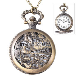 STRADA Japanese Movement Mandarin Duck Pattern Water Resistant Pocket Watch with Chain (Size 30)