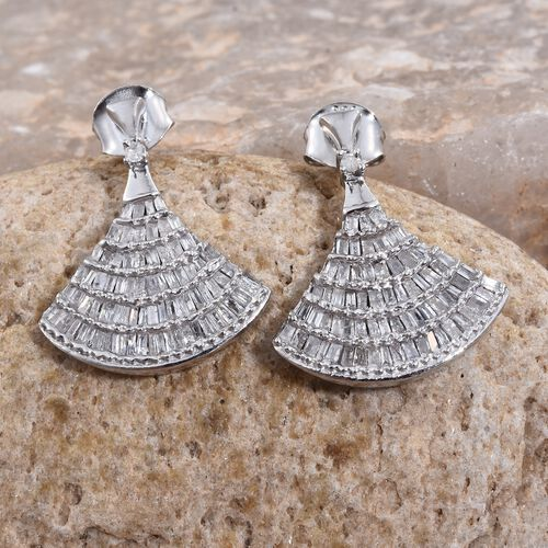 Designer Inspired - Diamond (Bgt) Ballerina Earrings (with Push Back) in Platinum Overlay Sterling Silver 1.000 Ct.