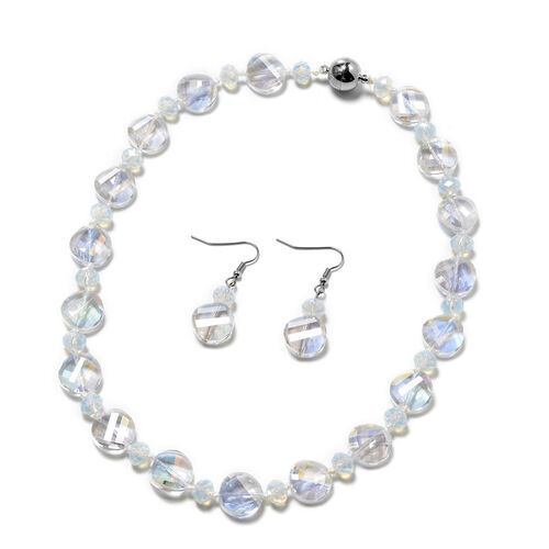 2 Piece Set - Simulated Mercury Mystic Topaz and Simulated Opalite Hook Earrings and Necklace (Size