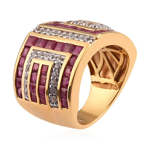 African Ruby and Natural Cambodian Zircon Ring in 14K Gold Overlay Sterling Silver 5.75 Ct.