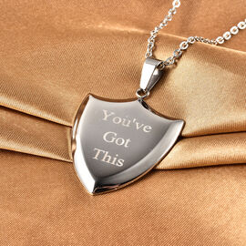 """Personalised Stainless steel Mens sheild pendant , 24"""" chain"""