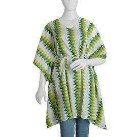 100% Cotton Green and White Colour Chevron Print Poncho (Size 100x90 Cm)