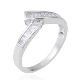ELANZA Simulated Diamond (Bgt and Oct) Bypass Ring in Rhodium Overlay Sterling Silver