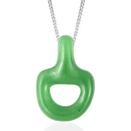 9.85 Ct Green Jade Snaffle Pendant with Chain in Rhodium Plated Sterling Silver 18 Inch