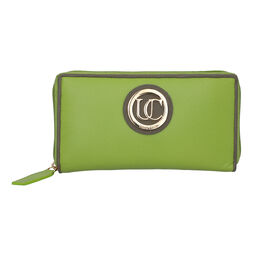100% Genuine Leather RFID Lime Wallet with Muscat Monument Piping and Zipper Closure