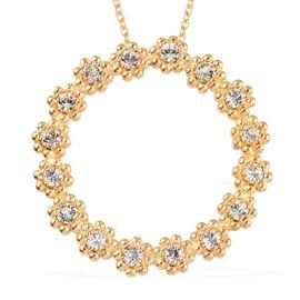 J Francis White Crystal from Swarovski Flower Circle Pendant with Chain in 18K Gold Plated 20 Inch