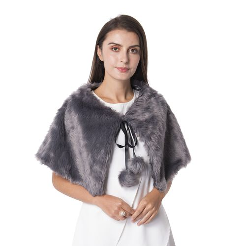 Dark Grey Colour Faux Fur Collar Wrap with Pom Pom (Size 63x32 Cm)