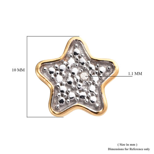 Diamond (Rnd) Star Stud Earrings (with Push Back) in 14K Gold Overlay and Platinum Overlay Sterling Silver