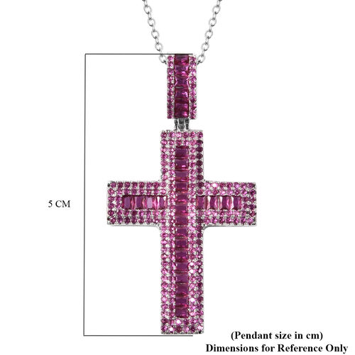Simulated Purple Sapphire Cross Pendant with Chain (Size 20 with 2 inch Extender) in Silver Tone