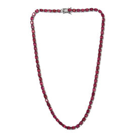 44.25 Ct African Ruby Tennis Necklace in Platinum Plated Sterling Silver 18.44 Grams