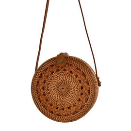 Designer Inspired - Handwoven Brown Colour Round Rattan Shoulder Bag